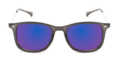 Front of Solo #3892 in Grey Frame with Blue Mirrored Lenses