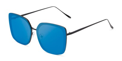 Angle of Solstice #4041 in Black Frame with Blue Mirrored Lenses, Women's Square Sunglasses