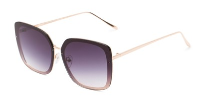 Angle of Solstice #4041 in Gold Frame with Dark Smoke Lenses, Women's Square Sunglasses
