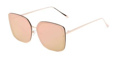 Angle of Solstice #4041 in Gold Frame with Pink/Yellow Mirrored Lenses, Women's Square Sunglasses