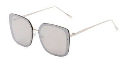 Angle of Solstice #4041 in Silver Frame with Silver Mirrored Lenses, Women's Square Sunglasses