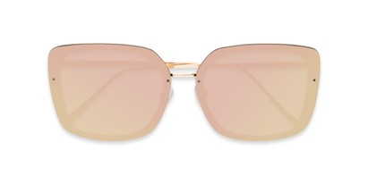 Folded of Solstice #4041 in Gold Frame with Pink/Yellow Mirrored Lenses