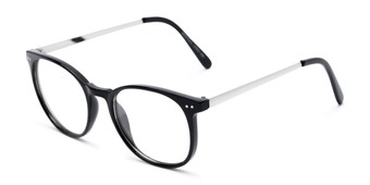 Angle of Staff #6702 in Black Frame with Clear Lenses, Women's and Men's Round Fake Glasses