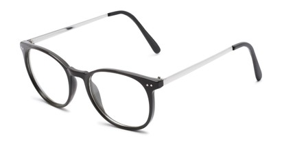 Angle of Staff #6702 in Grey Frame with Clear Lenses, Women's and Men's Round Fake Glasses