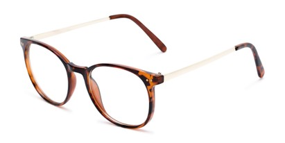 Angle of Staff #6702 in Tortoise Frame with Clear Lenses, Women's and Men's Round Fake Glasses
