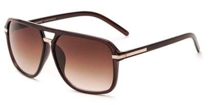Angle of Starboard #6118 in Glossy Brown Frame with Amber Lenses, Women's and Men's Aviator Sunglasses