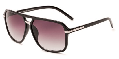 Angle of Starboard #6118 in Glossy Black Frame with Smoke Lenses, Women's and Men's Aviator Sunglasses