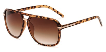 Angle of Starboard #6118 in Glossy Tortoise Frame with Amber Lenses, Women's and Men's Aviator Sunglasses