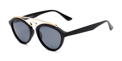 Angle of Stevie #2035 in Matte Black Frame with Smoke Lenses, Women's and Men's Round Sunglasses
