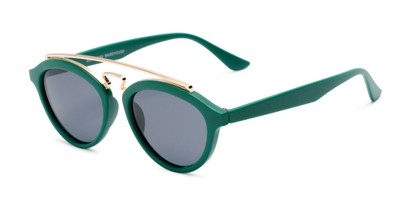 Angle of Stevie #2035 in Matte Green Frame with Smoke Lenses, Women's and Men's Round Sunglasses