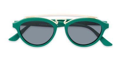 Folded of Stevie #2035 in Matte Green Frame with Smoke Lenses