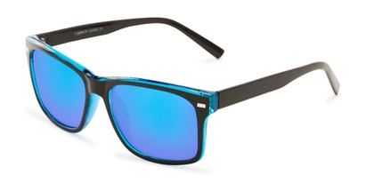 Angle of Stokes #1819 in Black/Blue Frame with Blue Mirrored Lenses, Women's and Men's Retro Square Sunglasses
