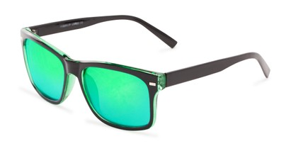Angle of Stokes #1819 in Black/Green Frame with Green Mirrored Lenses, Women's and Men's Retro Square Sunglasses