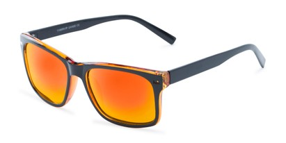 Angle of Stokes #1819 in Black/Orange Frame with Orange/Yellow Mirrored Lenses, Women's and Men's Retro Square Sunglasses