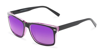 Angle of Stokes #1819 in Black/Purple Frame with Purple Mirrored Lenses, Women's and Men's Retro Square Sunglasses