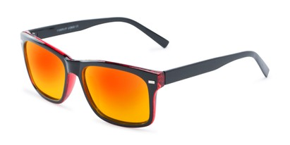 Angle of Stokes #1819 in Black/Red Frame with Red/Yellow Mirrored Lenses, Women's and Men's Retro Square Sunglasses