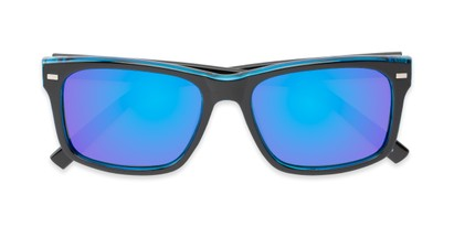 Folded of Stokes #1819 in Black/Blue Frame with Blue Mirrored Lenses