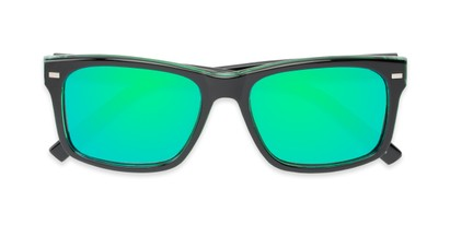 Folded of Stokes in Black/Green Frame with Green Mirrored Lenses