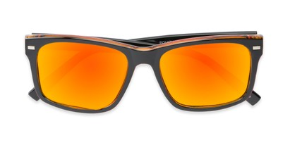 Folded of Stokes #1819 in Black/Orange Frame with Orange/Yellow Mirrored Lenses