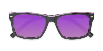 Folded of Stokes #1819 in Black/Purple Frame with Purple Mirrored Lenses