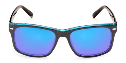 Front of Stokes in Black/Blue Frame with Blue Mirrored Lenses