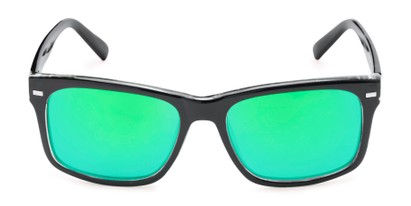 Front of Stokes #1819 in Black/Green Frame with Green Mirrored Lenses