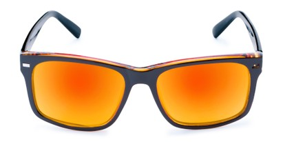 Front of Stokes in Black/Orange Frame with Orange/Yellow Mirrored Lenses