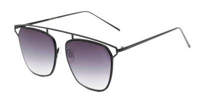 Angle of Suffolk #3151 in Matte Black Frame with Smoke Gradient Lenses, Women's and Men's Aviator Sunglasses