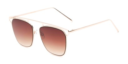 Angle of Suffolk #3151 in Matte Gold Frame with Amber Gradient Lenses, Women's and Men's Aviator Sunglasses