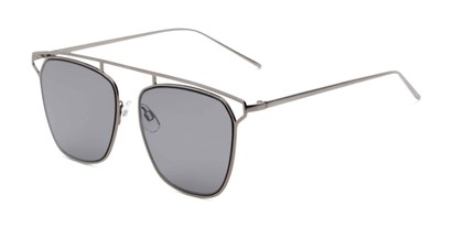 Angle of Suffolk #3151 in Matte Grey Frame with Smoke Gradient Lenses, Women's and Men's Aviator Sunglasses