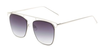 Angle of Suffolk #3151 in Matte Silver Frame with Smoke Gradient Lenses, Women's and Men's Aviator Sunglasses