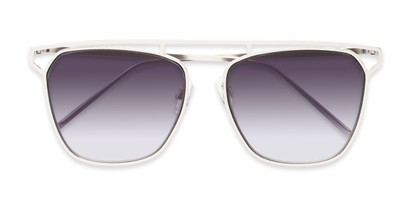 Folded of Suffolk #3151 in Matte Silver Frame with Smoke Gradient Lenses