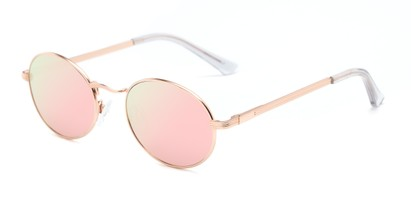 Angle of Summer #6793 in Rose Gold Frame with Pink Mirrored Lenses, Women's Round Sunglasses