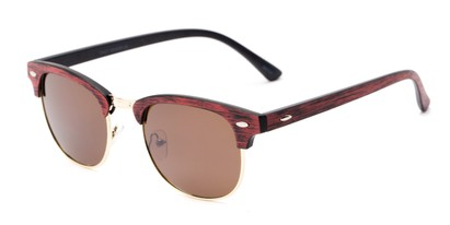 Angle of Sutro #4014 in Red/Gold Frame with Amber Lenses, Women's and Men's Browline Sunglasses