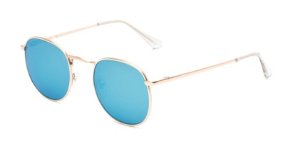 Angle of Tahiti #6390 in Gold Frame with Blue Mirrored Lenses, Women's and Men's Round Sunglasses