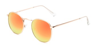 Angle of Tahiti #6390 in Gold Frame with Orange Mirrored Lenses, Women's and Men's Round Sunglasses