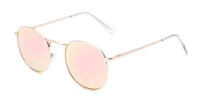 Angle of Tahiti #6390 in Gold Frame with Pink Mirrored Lenses, Women's and Men's Round Sunglasses