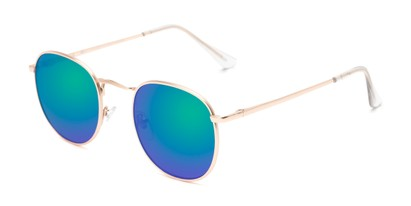 Angle of Tahiti #6390 in Gold Frame with Purple/Blue Mirrored Lenses, Women's and Men's Round Sunglasses