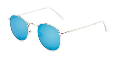 Angle of Tahiti #6390 in Silver Frame with Blue Mirrored Lenses, Women's and Men's Round Sunglasses