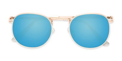 Folded of Tahiti #6390 in Gold Frame with Blue Mirrored Lenses