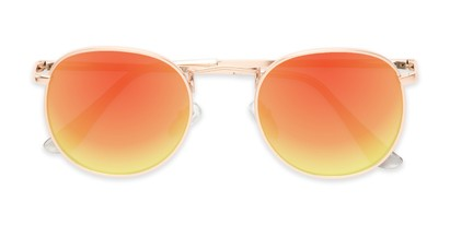 Folded of Tahiti #6390 in Gold Frame with Orange Mirrored Lenses