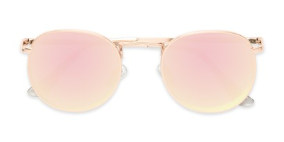 Folded of Tahiti #6390 in Gold Frame with Pink Mirrored Lenses