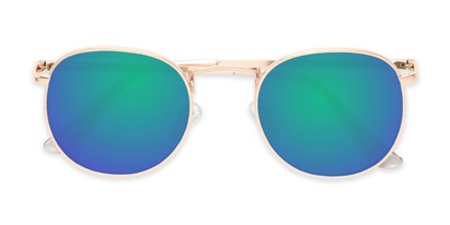 Folded of Tahiti #6390 in Gold Frame with Purple/Blue Mirrored Lenses