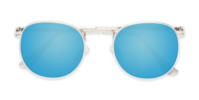 Folded of Tahiti #6390 in Silver Frame with Blue Mirrored Lenses