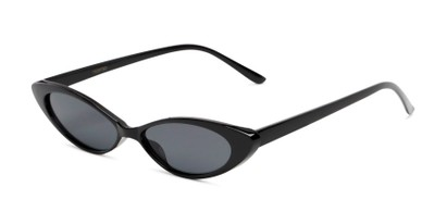 Angle of Tatum #16290 in Black Frame with Smoke Lenses, Women's Cat Eye Sunglasses