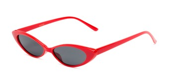 Angle of Tatum #16290 in Red Frame with Smoke Lenses, Women's Cat Eye Sunglasses