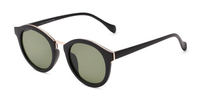 Angle of Tide #7091 in Matte Black/Gold Frame with Green Lenses, Women's Round Sunglasses
