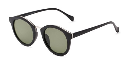 Angle of Tide #7091 in Matte Black/Silver Frame with Green Lenses, Women's Round Sunglasses