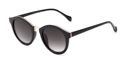Angle of Tide #7091 in Glossy Black/Gold Frame with Grey Lenses, Women's Round Sunglasses