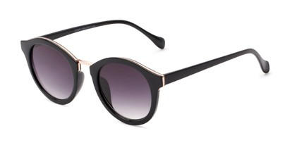 Angle of Tide #7091 in Glossy Black/Gold Frame with Smoke Lenses, Women's Round Sunglasses